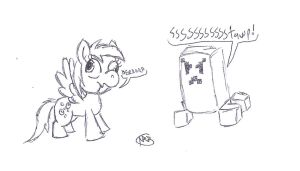 Derpy and a Creeper by uhnevermind