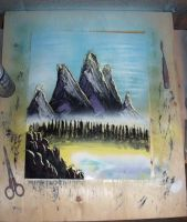 Purple Rock Mountain Spray Painting by JayLatour