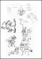 Zombies and Tapeworms : Sketchdump by The-F0X