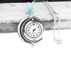 Blue Amazonite Silver Moon Watch Pendant Necklace by crystaland