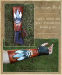 Secretary Bird Leather Arm Guard with Glove by windfalcon