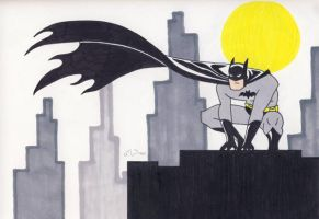 Rooftop Batman by CaperGirl