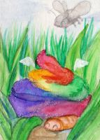 #502 ACEO rainbow angel poo by uniquorned