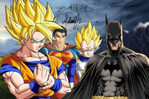 Goku, Batman, Vegeta, Superman by SWAVE18