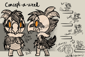 Concept a Week 04- Lily Bird, Crow Spirit by Spottedfire-cat