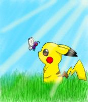 pikachu and butterfree by Demonshark151