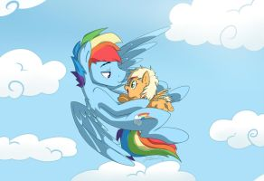 Fwying with papa by NolyCS