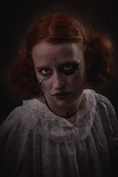 Creepy doll makeup by Fire-Redhead