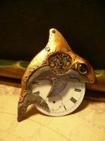 Brooch Time shark by clemcrea
