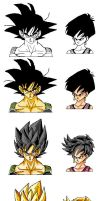 Bardock 0 Fasha normal and SSJ by JaworPL