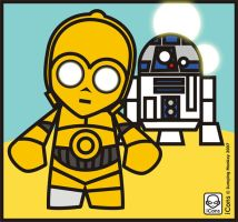 R2D2 and C3PO by JumpingMonkey