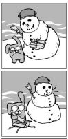 snowman and the rabbit by asutomek