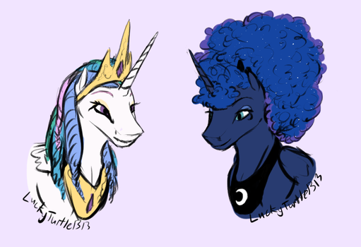 celestia and luna hairstyle by LuckyTurtle1313