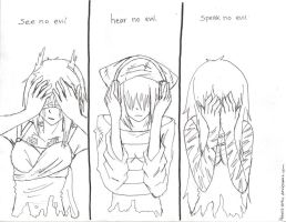 See, Hear, Speak No Evil by Pencil-Only