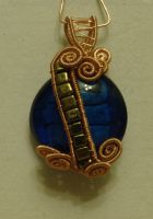 Blue glass pendant by srebrnaFH