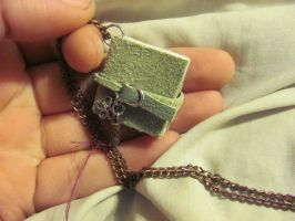 Mint Green Miniature Book Necklace (Sold) by Elvaneyl