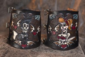 Psychobilly Lovers Cuffs by ElVaqueroMuerto