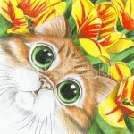 Orange Tiger Persian Kitty amongst the flowers by bigcatdesigns