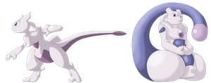 Mewtwo Speed and Zen Formes by Esepibe