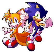 Sprite Redraw: Tails and Sonic by Zoiby