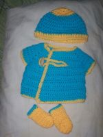 Layette in Blue and Yellow by CraftyLikeATodd