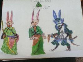 Different versions of Bunnymund by CatWoman-cali-onyx