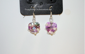 Wire wrapped swarovski crystal earrings by strangebeginnings