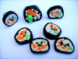 Sushi charms by eatyourbrians