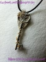 Steampunk Gear Key - Gold and Silver by Hijinx-Jewelry