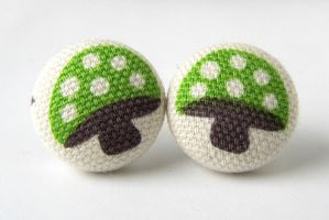 Mushroom earrings kawaii green by KooKooCraft