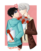 Fanart: Belated Victuri/Victuuri Valentine's Day by Boundbyribbon