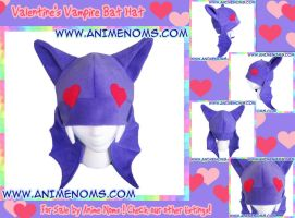 Smitten Valentine's Vampire Bat Hat by AnimeNomNoms