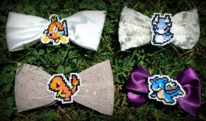Cross Stitched Pokemon Bows by LittleSymmetry