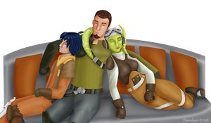 Space family cuddles by Dawnchaser