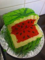 Square watermelon cake by CrIms0nCloVeR