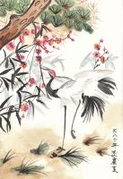 Crane and Plum Blossoms by Anjellyjoy