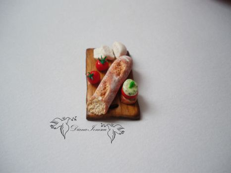 Polymer clay bread ,tomate and cheese by ionescudiana