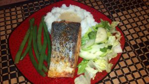 Salmon with green beens, mashed potatoes, salad by FutureChefHaku