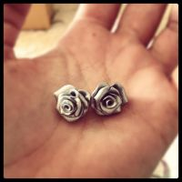 Polymer Clay rose earrings by KateBloomfield