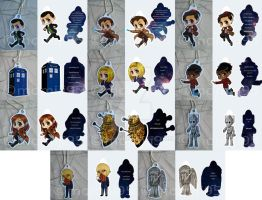 Doctor Who keychains by Momiji95