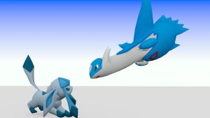 Latios and Glaceon - Fire and Ice by TheModerator