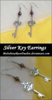 Silver Key Earrings by MelodiousRoseDuelist