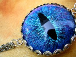 Evil Eye Dragon Eye Blue Choker Necklace Chains by LadyPirotessa