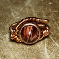 Steampunk Ring Red Tiger Eye by CatherinetteRings