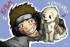 Kiba And Akamaru by DogWolf129