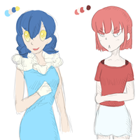 Froakie and Voltorb Gijinka by icy-spicy