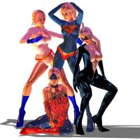 powergirl, black cat, supergirl, spidergirl shoot by 7ipper