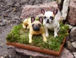 French Bulldogs on a grass by Kesa-Godzen