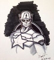 Captain America 52ish Marker Bust  Commission by stourangeau