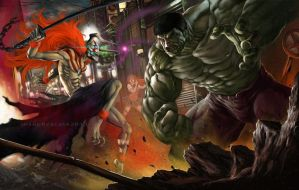 Ichigo vs hulk by earache-J